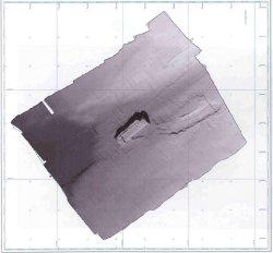 Imagen del pecio de proa del Prestige obtenida con escaneado sónar