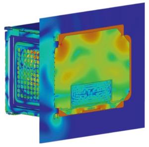 Espectro radiación microondas en horno mal protegido